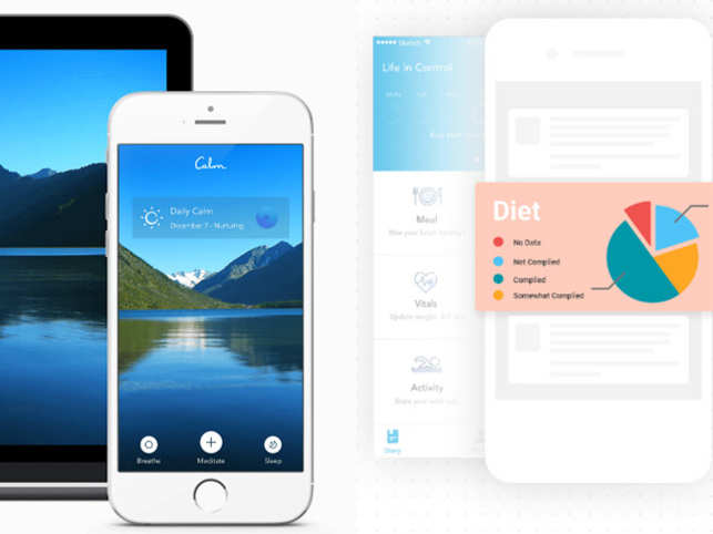 Calm (left) helps you relax, improve concentration and sleep better. LifeInControl (right) connects doctors and diabetes coaches with patients.