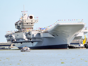 India's first indigenous aircraft carrier INS Vikrant after undocking from Cochin Shipyard after completion of structural work in the second phase.