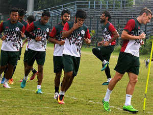 Mohun Bagan players during a practice session.
