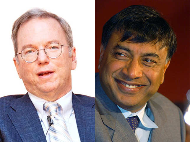 Alphabet Executive Chairman Eric Schmidt (left) and steel tycoon Lakshmi Mittal (right).