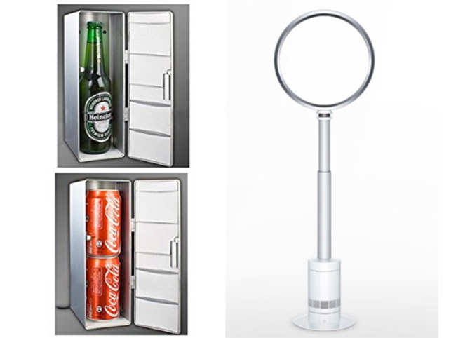 The USB-powered OriGlam mini fridge (left) and Dyson fan (right).