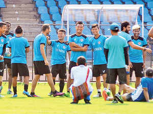 Aizawl will need a draw against old regional rivals, Shillong Lajong, on Sunday to cap off India's greatest sporting story in recent times.  [In pic: Aizawl FC football team at a practice session in Bengaluru]