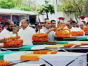 Union minister Rajnath Singh paying tribute to jawans killed in Sukma. Twenty-five CRPF personnel were killed and seven wounded in Chhattisgarh's Sukma district on April 24.
