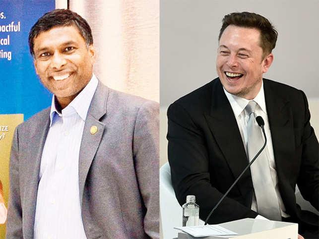 Naveen Jain, Co-founder, Moon Express (left) and Elon Musk, CEO, SpaceX (right).