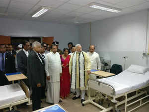 The 150-bed hospital was constructed with Indian aid of Rs 50 crore under India's developmental aid to Sri Lanka.