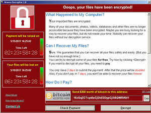 Wanna-Cry started hitting computers on Saturday, demanding $300 in bitcoin to unlock an infected file or a computer.