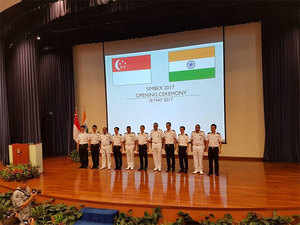 Navies of India and Singapore yesterday began a seven- day-long mega maritime exercise in the SCS which has been witnessing a growing Chinese assertiveness.