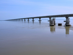 A view of the 9.15 km long road bridge over the Brahmaputra River in Tinsukia District in Assam.