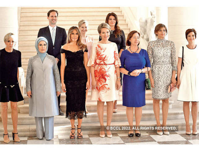 Destenay (Top Left) is trending on social media when he appeared alongside other spouses of world leaders at the NATO summit in Brussels.