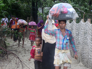 Villagers in Bangladesh's Cox's bazar moving to cyclone shelters as Cyclone Mora made landfall in the country.