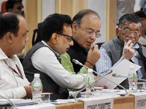 Finance Minister Arun Jaitley chaired the 15th meeting of the GST Council which is scheduled to decide on tax rate of 6 items including gold, textiles and footwear.