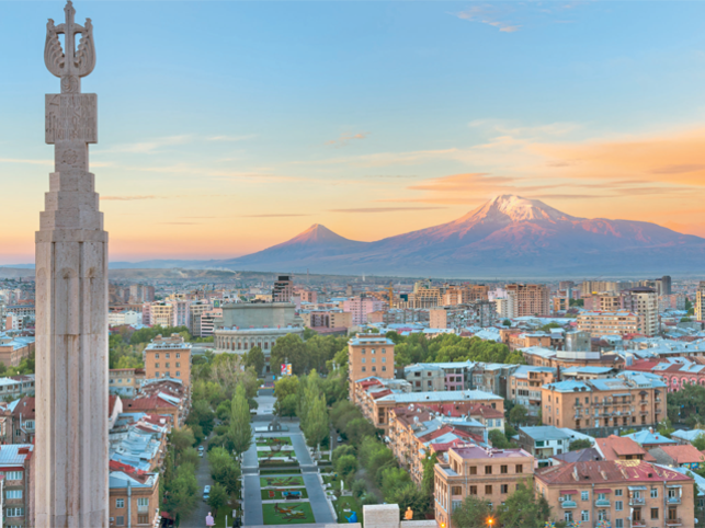 From a vertiginous 1,476 feet, the almond-coloured cityscape of Yerevan, Armenia's capital, looks bewitching.