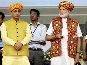 Chief Minister Vijay Rupani said Prime Minister Narendra Modi gave the permission to close the gates of the dam today. (File pic of PM Narendra Modi and Gujarat CM Vijay Rupani)
