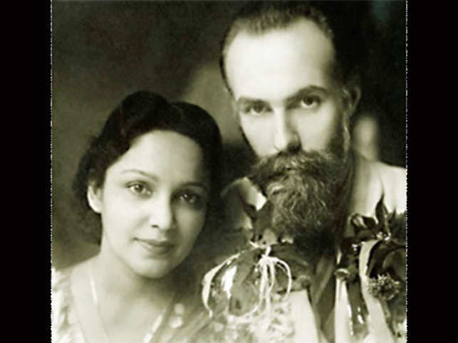 Legendary actress Devika Rani and her Russian artist-husband Svetoslav Roerich. (Image: Museums of Russia)