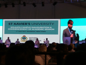 L N Mittal, chairman & CEO, Arcelor Mittal speaking at the inauguration of St Xavier's University in Kolkata.