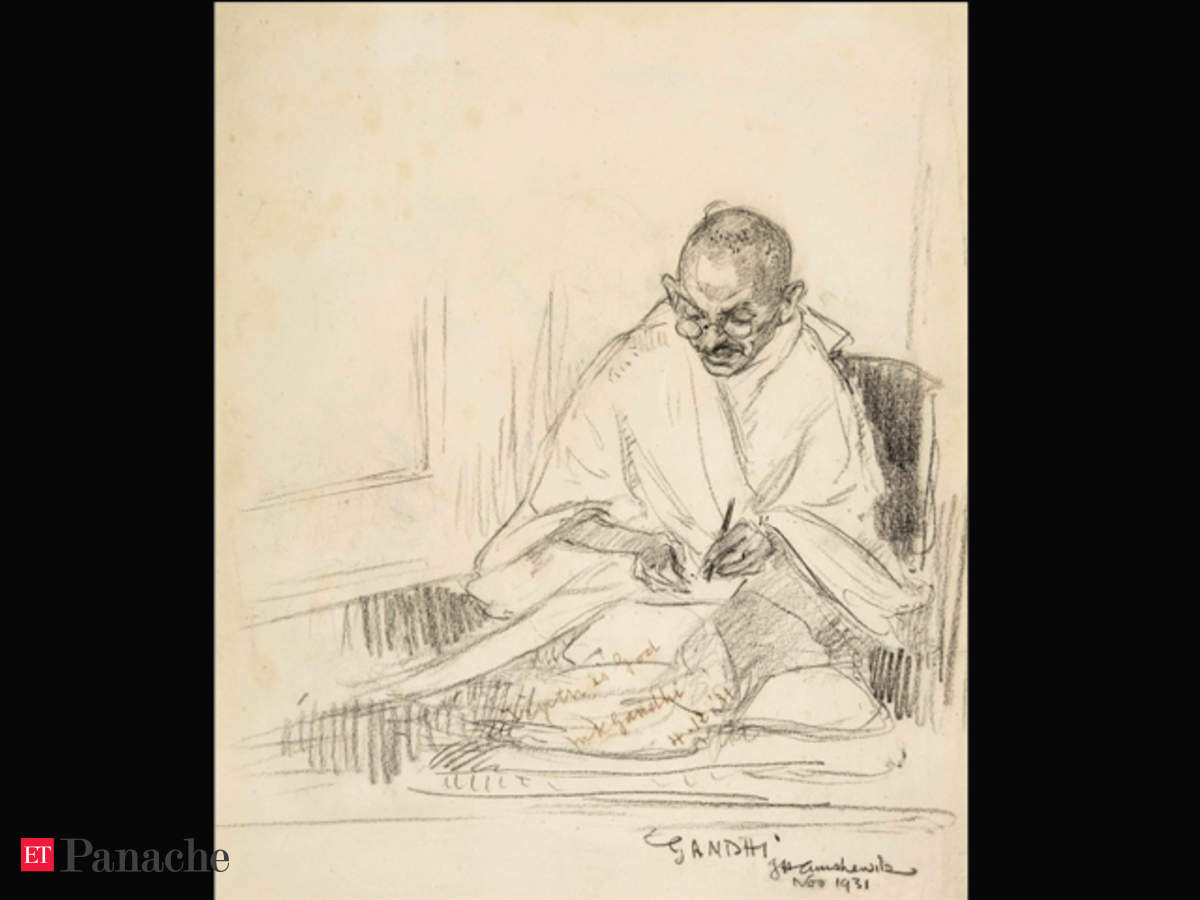 Rare pencil portrait of mahatma gandhi worth over £8000 and his hand written letters to go under the hammer