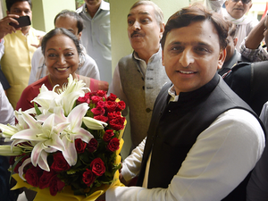 UPA's presidential candidate Meira Kumar meets with Samajwadi Party chief Akhilesh Yadav at the party office in Lucknow