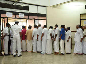 MLA's lined up outside the polling booth to cast their vote in the presidential election inside the Kerala Legislative Assembly in Thiruvananthapuram