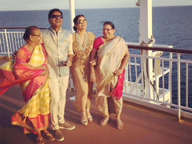 Shashi Kiran Shetty with wife Arathi and their respective mothers on the cruise.  (Image: Facebook/Arathi Shetty)