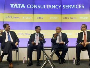 TCS' HR head Ajoyendra Mukherjee (extreme left), earned Rs 4.65 cr last year.
