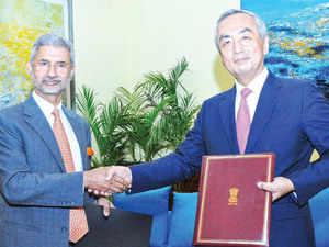 Foreign secretary S Jaishankar and Japanese Ambassador Kenji Hiramatsu exchanging notes operationalising the pact.