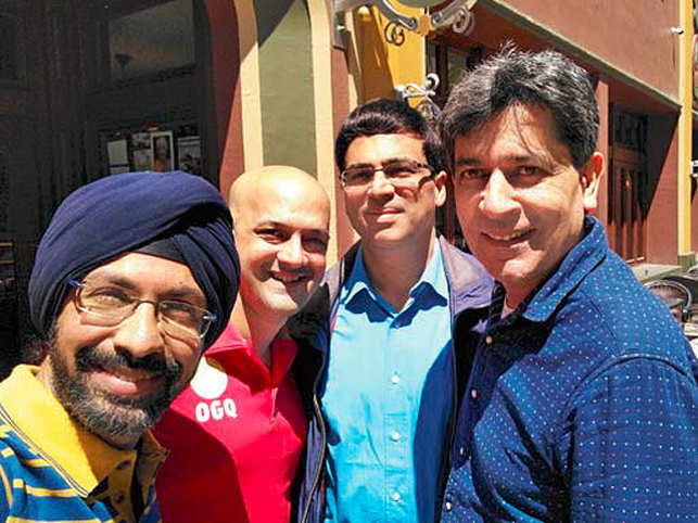 From left: Punit Soni, Viren Rasquinha, Viswanathan Anand and Geet Sethi.