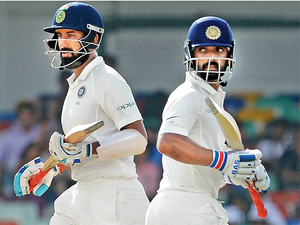 Pujara and Ajinkya Rahane put on an unbeaten 211-run stand for the fourth wicket, both helping themselves to centuries as Sri Lanka wilted in the field.