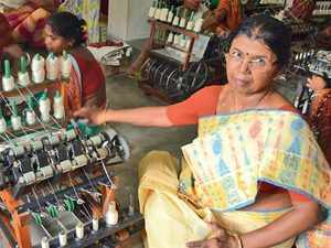 Tapasi Ghosh, along with 31 other women, works at the Matiari Kutirshilpa Pratisthan, which produces the finest yarn and fabric and is being revived through the WB government's Project Muslin.
