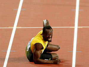 Running the final race of his career, the 30-year-old Bolt, after taking the baton from his Jamaican teammate Yohan Blake, suffered cramps on his left hamstring.