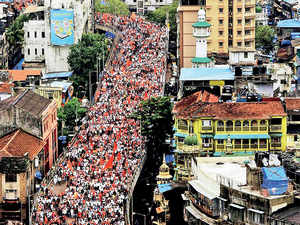 Members of Maratha Kranti Morcha take out a silent march in Mumbai on August 9