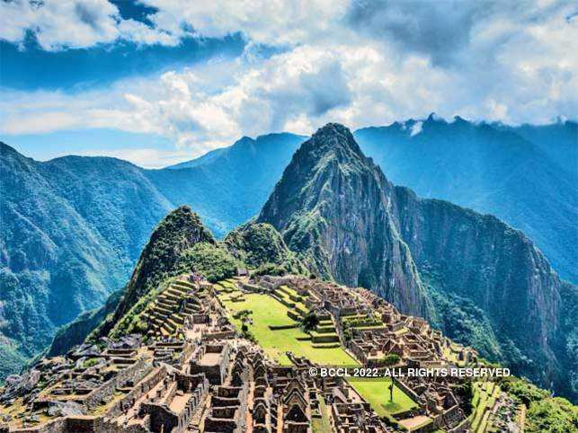 Aerial view of Machu Picchu.