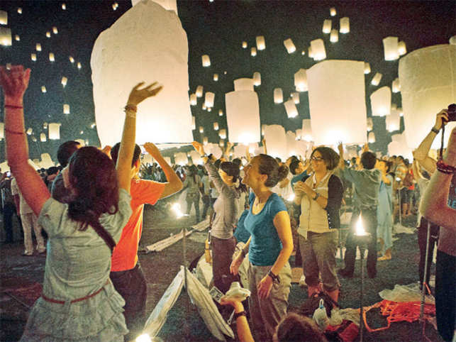You too can float a lantern in the sky during the Loy Krathong Fest.