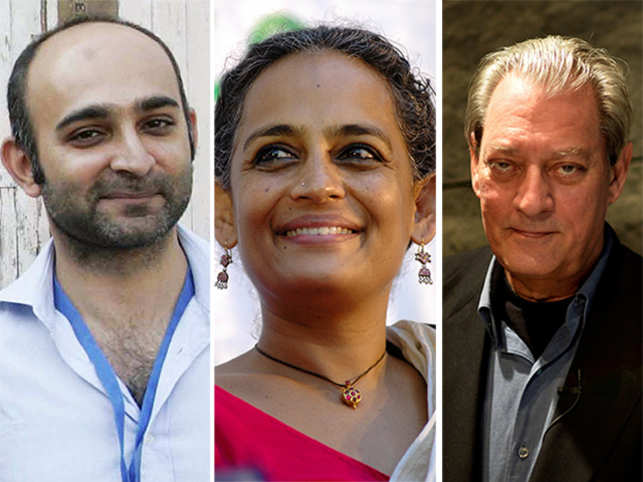 Left to right: Mohsin Hamid, Arundhati Roy,  Paul Auster.
