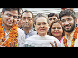 Congress president Sonia Gandhi with the winners