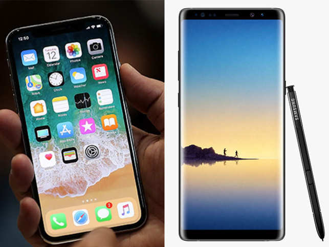 iPhone X (left) and Samsung Galaxy Note 8 (right)