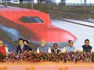 "He said the train will go from ""aapnu Amdavad to aamchi Mumbai (my Ahmedabad to our Mumbai)"", using Gujarati and Marathi phrases."