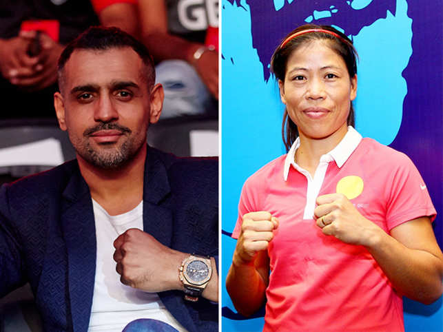 Dosanjh (left) feels Indian pugilists Vijender Singh and Mary Kom (right) should have turned pro earlier in their career.