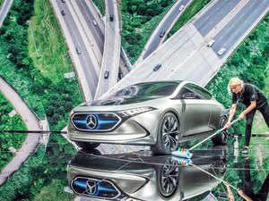 Mercedes Benz electric concept car EQ A at the Internationale Automobil Ausstellung in Frankfurt.