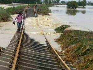 A damaged railway line in flood-hit Katihar district.