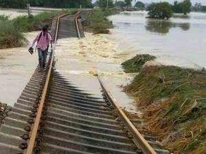 A damaged railway line in flood-hit Katihar district.
