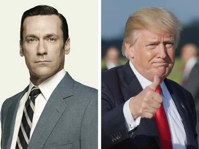 Jon Hamm (left) revealed that he was left extremely uncomfortable and wasn't really thrilled when he met Trump.  (Image: www.imdb.com & AFP)