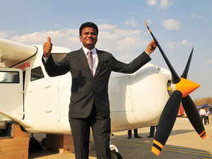 Amol Yadav with his aircraft at the India Aviation show 2016 in Hyderabad