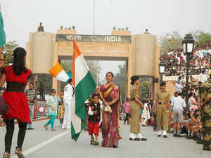 The 25-minute spectacle at the Attari-Wagah border attracts thousands of people every evening as the flags of India and Pakistan are lowered and border gates are closed for the night.