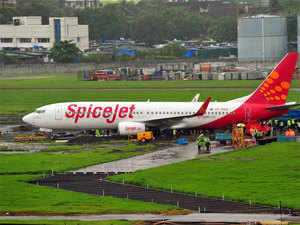 SpiceJet aircraft which had skidded after landing amid heavy rains on Tuesday.