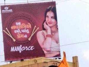 Canadian-born Indian actor Sunny Leone endorses Manforce Condoms.
