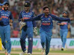 Yadav became the third Indian to take a hat-trick in ODIs, after Chetan Sharma and Kapil Dev.