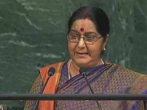 India, Sushma Swaraj said, has displayed the courage and leadership to take tough decisions which have launched the interlinked process of sustainable development.