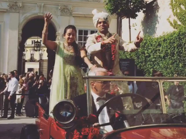 Parth Jindal and his baraat at Vienna.   (Image: Instagram/melaniemasarin)