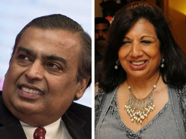 Mukesh Ambani (left) and Kiran Mazumdar Shaw (right), are on top of the table.