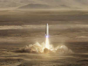this artist s rendering made available by elon musk shows spacex s new mega rocket design on